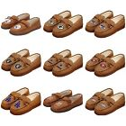 NFL,MLB ,NBA Team Tan Moccasin Hard Rubber Sole Men's Slippers
