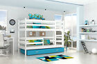 Bunk Bed Jack Wooden Childrens Frame With 2x Basic Foam Mattresses Drawer