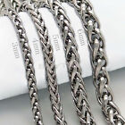 "Great 3/4/5/6MM 20"" MENS Silver Stainless Steel Wheat Braided Chain Necklace o"
