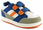 New Boys White Synthetic Leather Double Strap Tennis Trainers Shoes UK SIZES