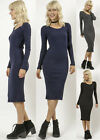 Ribbed Sweater scoop neck half Bodycon Fitted Long Sleeve Casual Knit MIDI Dress