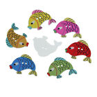 The Bead and Button Box - Mixed Colour Fish Wood Sewing Buttons. 31mm