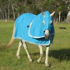 LOVE MY HORSE 5'9 - 6'6 100% Cotton Drill Show Set Horse Rug Teal / Silver