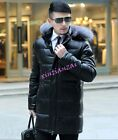 Mens Faux Leather Fur Collar Hooded Long Outwer Coat Down Jacket Stand Collar