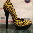 CLEARANCE Was $29 Now $14 YELLOW LEOPARD PUMPS HIGH GLOSS PATENT PLATFORM SHOES