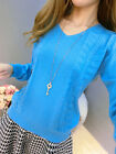 Spring& Winter Fashion Womens Lithophane Cashmere Sweater V-neck Knitted Sweater