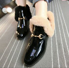 Winter Womens Fur Casual Ankle Boots Loafers Patent Leather Punk Motorcycle Shoe