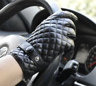 Men's Intire Palm Touch Screen Genuine Sheep Leather Gloves Lattice Deco M268