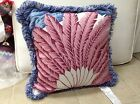 Frontgate Outdoor Patio Blue Red Feather Palm Leaf Chair Sofa Throw Pillow 20x20