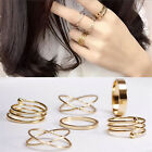 Charm Unique Ring Set Punk Alloy Knuckle Rings for Womens 6 PCS Finger Rings HF