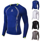 NEW Men Long Sleeve Sports T-shirts Thermal Under Base Layer Top Compression .