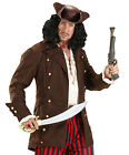 MENS CAPTAIN HOOK COSTUME PETER PAN LONG BROWN FANCY DRESS PIRATE COAT NEW L XL
