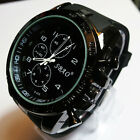 New Black Fashion Stainless Steel Luxury Sport Analog Quartz Mens Wrist Watch HF