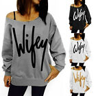Colors Long Sleeve Hoodie Off Shoulder Sweater Sweatshirt Pullover Tops T Shirt