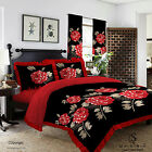 Duvet Cover with Pillow Case Quilt Cover Bedding Set Frilled Edge LISA BLACK RED