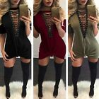 New Women Lace-up V Neck Casual Long Tops Blouse Shirt Bodycon Mini Dress Choker