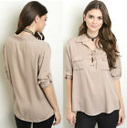 3/4 Tab Sleeve Collared Lace Up Military Tunic Ethnic Boho Peasant Top Blouse