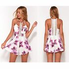 Womens Floral Romper Hollow Out Slip Jumpsuit Crocheted Crew Neck Summer Beach