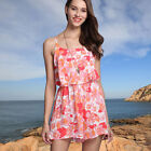 Womens Sexy Multi-Coloured Floral Sleeveless Romper Beach Summer Jumpsuit Casual