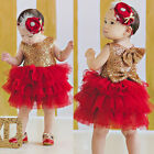 Baby Girl Sequins Flower Dress Bow Tulle Tutu Party Formal Bridesmaid Dresses