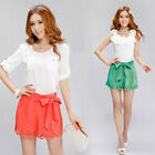 PINK   Hollow Out Firing Candy Color Hot Pants Split Cute Skirt Shorts