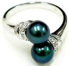 Fashion Double Genuine Black Pearl White Gold Plated Crystal Ring Size: 6.7.8.9