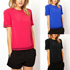 Blue Womens Short Sleeve Hollow Fashion Casual Blouse Top Shirt New