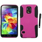 For Samsung Galaxy S5 Hybrid Rugged Impact Hard Soft Case Phone Cover Stylus Pen
