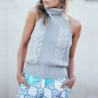 2017 Sexy Women Ladies Vintage Twist Backless Cowl Neck Knitted Sweater Jumper