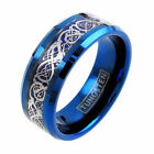 Tungsten Ring Silver Celtic Dragon Blue Band Men's & Women's Engraving Available