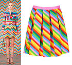 Rainbow Neon Colourful Stripe Pleated Mini Short Skirt Runway Celeb Amal Clooney