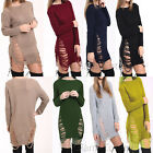 Womens Ladies Ripped Torn Long Jumper Dress Knitted Top Ripped Sweater 8 -16