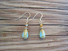 Turquoise Czech Beads Crystal Beaded Sterling Silver Dangle Handmade Earrings