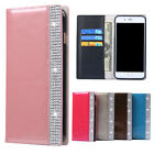 Hot Luxury Bling Diamond Leather Flip Wallet Cards Case Cover for iPhone/Samsung
