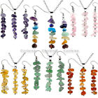 Pick Gemstones Chakra Pendant Beads Necklace & Dangle Hook Earrings 2pcs/Set