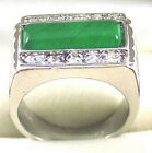 Fashion Emerald Green Jade Crystal White Gold Plated Ring Size: 7.8.9