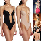 Backless Push Up Bra Deep Plunge Thong Full Body Shaper Clear Straps Convertible
