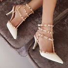 Stud Rivets 8 CM High Heels Ankle Strappy Slingbacks Pointy White PU Women Shoes