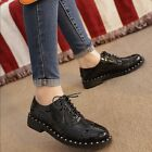 New College Women Girls Brogue Patent Leather Oxfords Lace Up Retro Casual Shoes