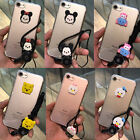 3D Cute Cartoon Disney Soft Clear Case Cover for iPhone 6/6S/7 Plus with Strap