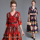 2017 Occident Elegant Womens V-Neck 3/4 Sleeve BOHO Vintage Printed Long Dress