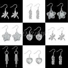 1 Pair Elegant Women Vintage Crystal Dangle Ear Stud Silver Plated Earrings