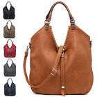 Ladies Faux Leather Slouch Style Handbag Grab Bag Evening Shoulder Tote B3602-1