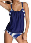 Fashion Women Summer Halter Bikini Swimsuit Stripe Bikini with Solid Cover Hot