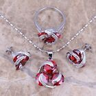 Unique Red Garnet Silver Jewelry Sets Earrings Pendant Ring S0124