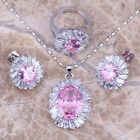 Lovely Pink & White Topaz Silver Jewelry Sets Earrings Pendant Ring S0087