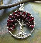 Garnet Pendant Necklace,Garnet Tree of Life, Wire Wrapped Garnet Tree of Life Pe