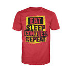 WWE Brock Lesnar Stencil Eat Sleep Officially Licensed Mens Ladies T-shirt Red