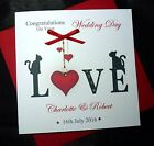 Personalised Handmade Wedding Engagement Anniversary Card  Love Cats (2506)
