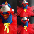Girls Superhero Superman Tutu dress & Hairband fancy dress Marvel inspired 1-10